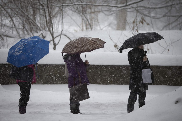 Commuters wait for a bus on 5th Avenue at Central Park as it snows in New York. (REUTERS/Carlo Allegri)