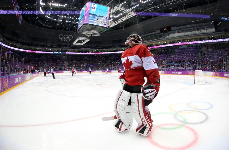 Carey Price #31 of Canada skates in the first period against the United States during the Men's Ice Hockey Semifinal Playoff on Day 14 of the 2014 Sochi Winter Olympics at Bolshoy Ice Dome on February 21, 2014 in Sochi, Russia. (Photo by Bruce Bennett/Getty Images)