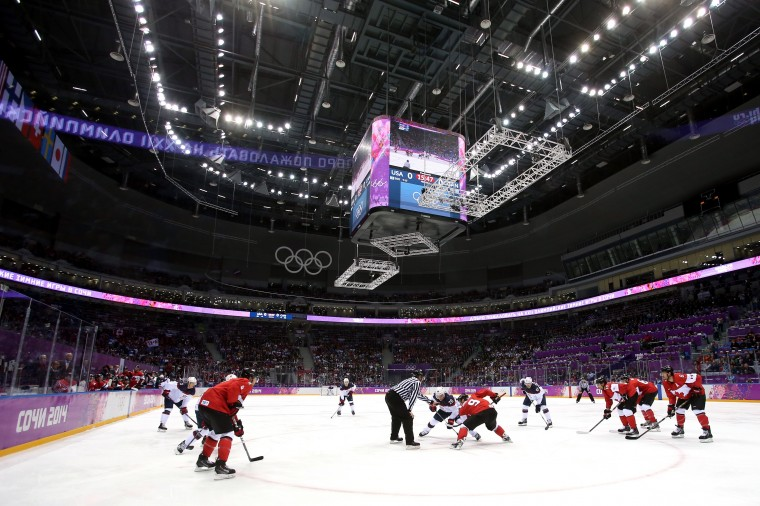 Paul Stastny #26 of the United States and Matt Duchene #9 of Canada face off during the Men's Ice Hockey Semifinal Playoff on Day 14 of the 2014 Sochi Winter Olympics at Bolshoy Ice Dome on February 21, 2014 in Sochi, Russia. (Photo by Bruce Bennett/Getty Images)