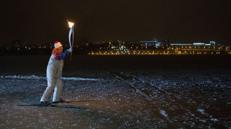 A handout picture taken during the Sochi 2014 Winter Olympic torch relay on January 2, 2014, and released by the Sochi 2014 Winter Olympics Organizing Committee shows a torchbearer skiing with an Olympic torch in Izhevsk, some 1000 km (625 miles) east of Moscow. Russian torchbearers has started in October 2013 the history's longest Olympic torch relay ahead of February's Winter Games in Sochi, which will take the flame across the country through all 83 of its regions, including extreme locales such as Chukotka, the remote region in Russia's Far East, the turbulent North Caucasus, and even Russia's European exclave Kaliningrad. (Sochi 2014/Getty Images)A handout picture taken during the Sochi 2014 Winter Olympic torch relay on January 2, 2014, and released by the Sochi 2014 Winter Olympics Organizing Committee shows a torchbearer skiing with an Olympic torch in Izhevsk, some 1000 km (625 miles) east of Moscow. Russian torchbearers has started in October 2013 the history's longest Olympic torch relay ahead of February's Winter Games in Sochi, which will take the flame across the country through all 83 of its regions, including extreme locales such as Chukotka, the remote region in Russia's Far East, the turbulent North Caucasus, and even Russia's European exclave Kaliningrad. (Sochi 2014/Getty Images)