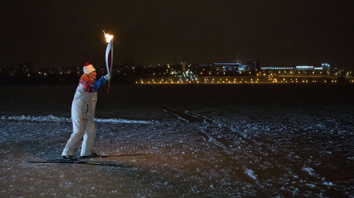 Winter olympic torch run