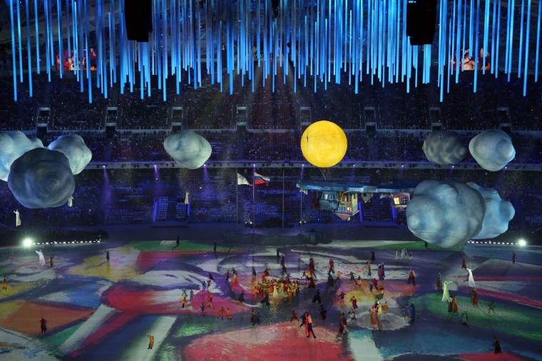 A performance to Russian culture during the 2014 Sochi Winter Olympics Closing Ceremony at Fisht Olympic Stadium. (Photo by Matthew Stockman/Getty Images)
