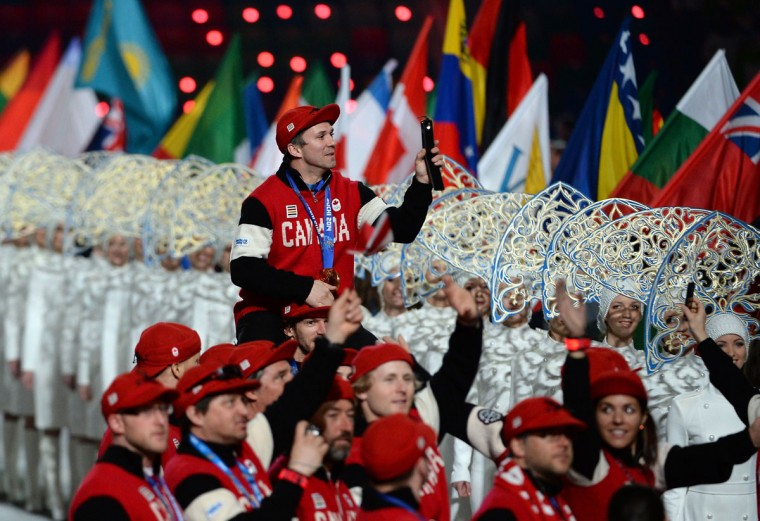 Canadian Olympic athletes enter the stadium during Closing Ceremony of the Sochi Winter Olympics at the Fisht Olympic Stadium. (PETER PARKS/AFP/Getty Images)