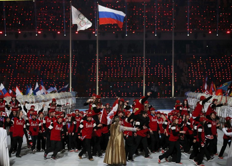 Canada's athletes enter the stadium during the closing ceremony for the 2014 Sochi Winter Olympics. (REUTERS/Phil Noble)