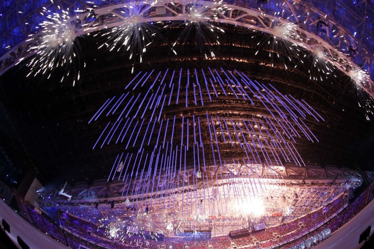 A general view of fireworks during the closing ceremony for the Sochi 2014 Olympic Winter Games at Fisht Olympic Stadium. (Jeff Swinger-USA TODAY Sports)