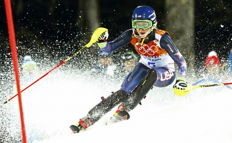 Mikaela Shiffrin of the U.S. skis during the second run of the women's alpine skiing slalom event at the 2014 Sochi Winter Olympics at the Rosa Khutor Alpine Center February 21, 2014. (REUTERS/Ruben Sprich)