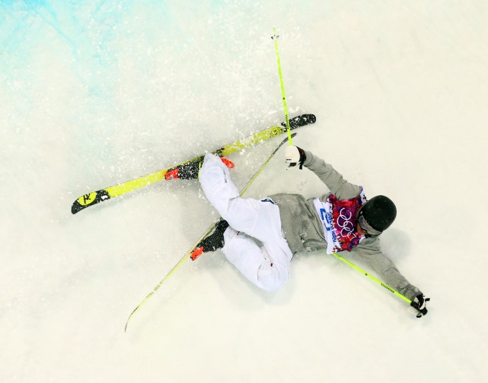 Benoit Valentin (FRA) falls during men's ski halfpipe qualification during the Sochi 2014 Olympic Winter Games at Rosa Khutor Extreme Park. (Guy Rhodes-USA TODAY Sports)