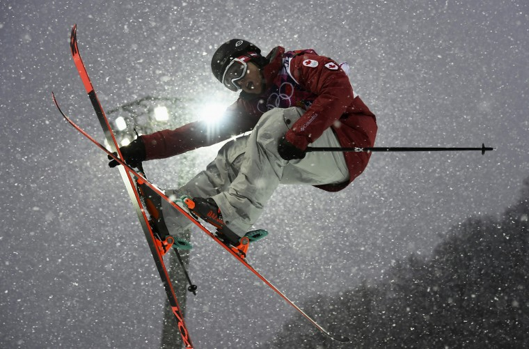 Canada's Matt Margetts competes during the men's freestyle skiing halfpipe qualification round at the 2014 Sochi Winter Olympic Games in Rosa Khutor February 18, 2014. (REUTERS/Dylan Martinez)
