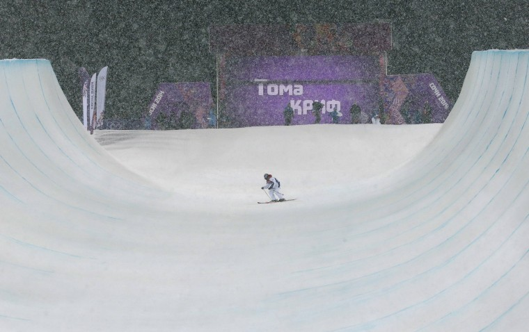 France's Thomas Krief slides during the men's freestyle skiing halfpipe finals at the 2014 Sochi Winter Olympic Games in Rosa Khutor February 18, 2014. REUTERS/Mike Segar
