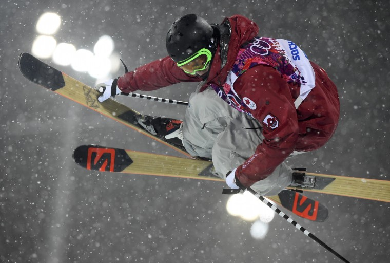 Canada's Noah Bowman competes during the men's freestyle skiing halfpipe finals at the 2014 Sochi Winter Olympic Games in Rosa Khutor February 18, 2014. REUTERS/Dylan Martinez