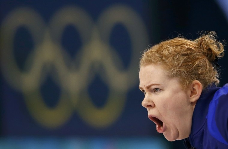 Sweden's skip Margaretha Sigfridsson shouts during their women's gold medal curling game against Canada at the Ice Cube Curling Centre during the Sochi 2014 Winter Olympics February 20, 2014. (REUTERS/Marko Djurica)