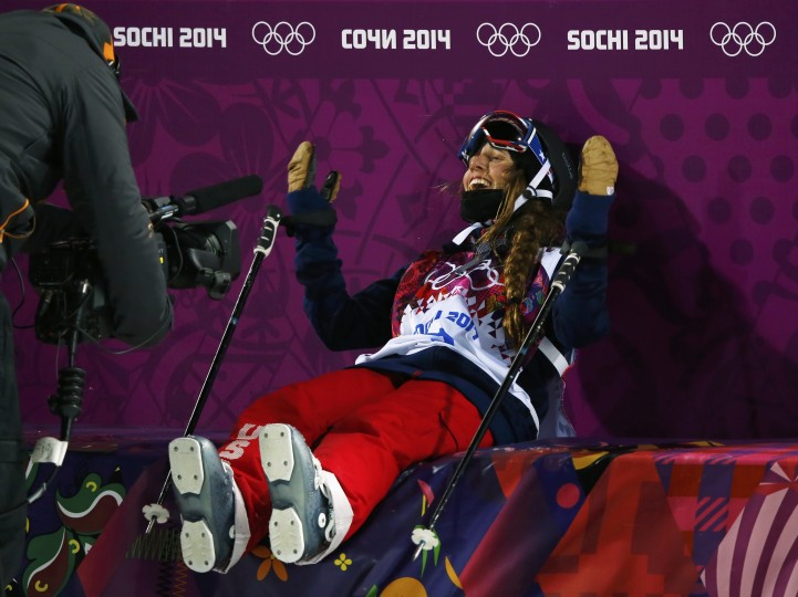 Maddie Bowman of the U.S. reacts during the women's freestyle skiing halfpipe finals at the 2014 Sochi Winter Olympic Games in Rosa Khutor February 20, 2014. (REUTERS/Mike Blake)