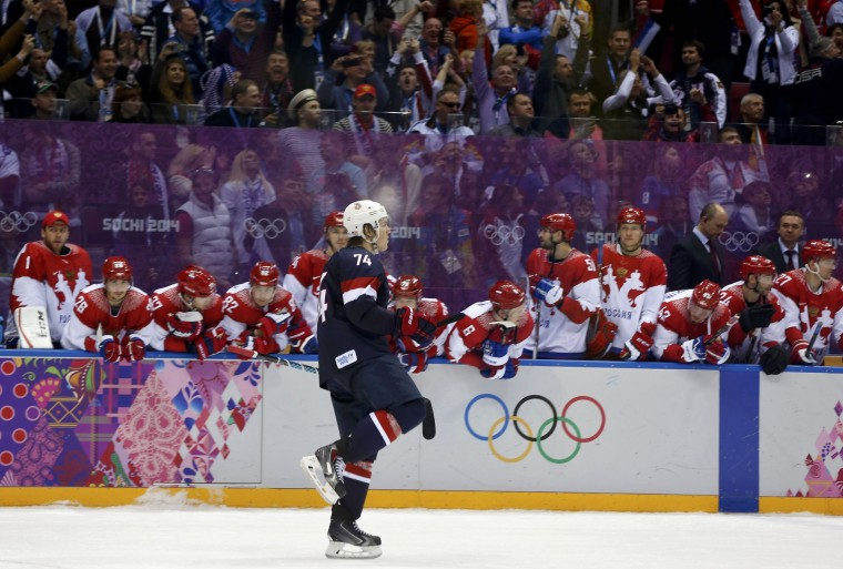 Team USA's T.J. Oshie reacts after scoring the game winning shootout goal against Russia during their men's preliminary round ice hockey game at the Sochi 2014 Winter Olympic Games February 15, 2014. REUTERS/Gary Hershorn