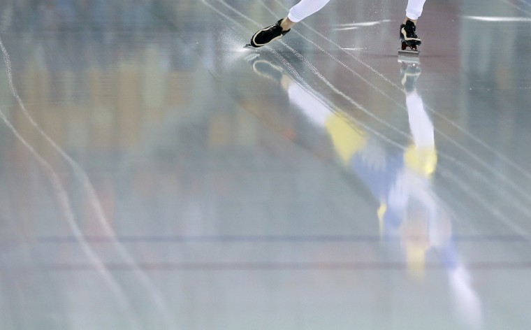 Sweden's David Andersson skates during the men's 1,500 metres speed skating race in the Adler Arena at the Sochi 2014 Winter Olympic Games February 15, 2014. REUTERS/Phil Noble
