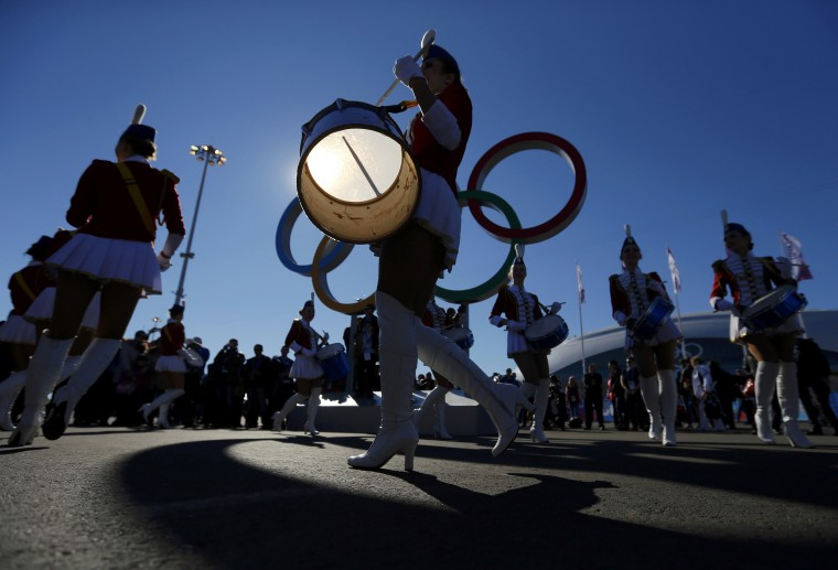 Drummers perform in the Olympic Park during the Sochi 2014 Olympic Games, February 13, 2014. REUTERS/Laszlo Balogh