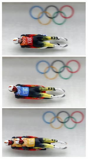 Germany's Natalie Geisenberger, Felix Loch, and Tobias Arlt and Tobias Wendt ( from top-bottom) speed down the track during the luge team relay competition at the 2014 Sochi Winter Olympics, in this combination picture made of frames taken February 13, 2014. The team won the event. REUTERS/Arnd Wiegmann