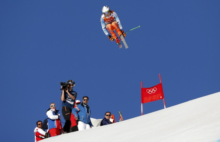 Norway's Aleksander Aamodt Kilde performs a jump during the downhill run of the men's alpine skiing super combined event at the 2014 Sochi Winter Olympics, February 14, 2014. REUTERS/Stefano Rellandini