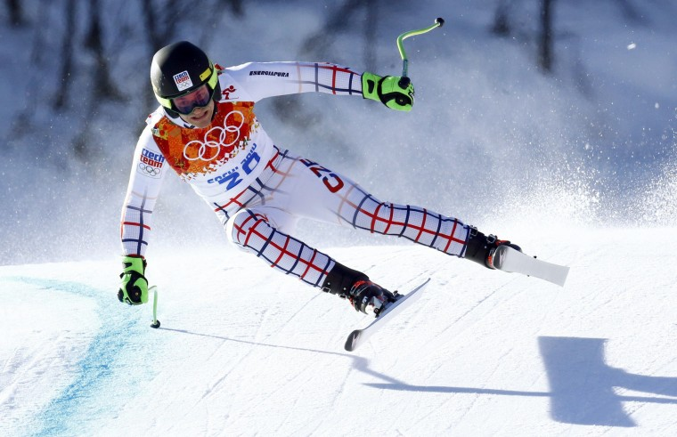 Krystof Kryzl of the Czech Republic competes in the downhill run of the men's alpine skiing super combined event at the 2014 Sochi Winter Olympics, February 14, 2014. REUTERS/Ruben Sprich