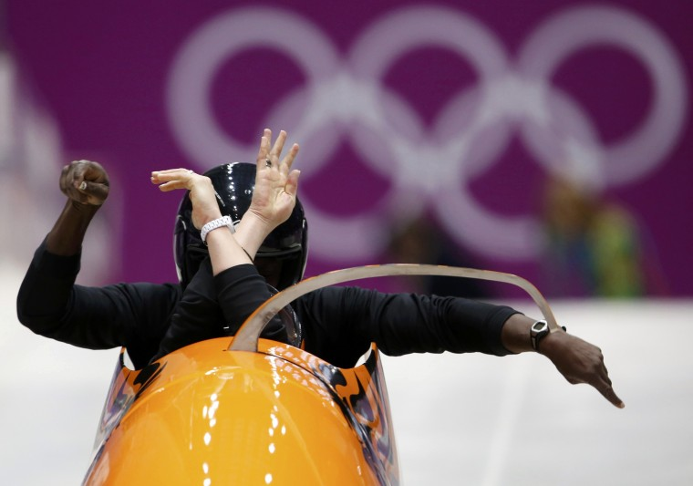 Pilot Esme Kamphuis (front) of the Netherlands starts a two-women bobsleigh training event at the Sanki Sliding Center in Rosa Khutor, a venue for the Sochi 2014 Winter Olympics, near Sochi, February 14, 2014. REUTERS/Murad Sezer