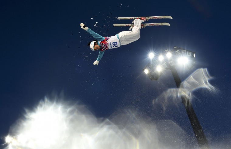 Kazakhstan's Zhibek Arapbayeva performs a jump during the women's freestyle skiing aerials qualification round at the 2014 Sochi Winter Olympic Games in Rosa Khutor, February 14, 2014. REUTERS/Dylan Martinez