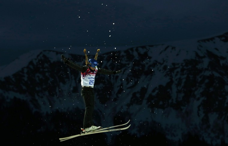 Ukraine's Nadiya Mokhnatska performs a jump during the women's freestyle skiing aerials qualification round at the 2014 Sochi Winter Olympic Games in Rosa Khutor February 14, 2014. REUTERS/Lucas Jackson