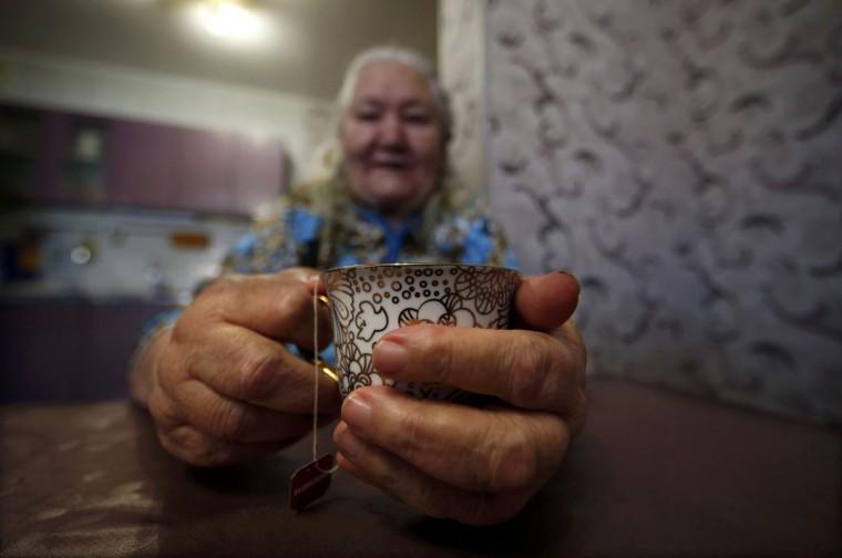 Lyudmila Frolova is pictured in her home in Sochi, February 12, 2014. (Eric Gaillard/REUTERS)