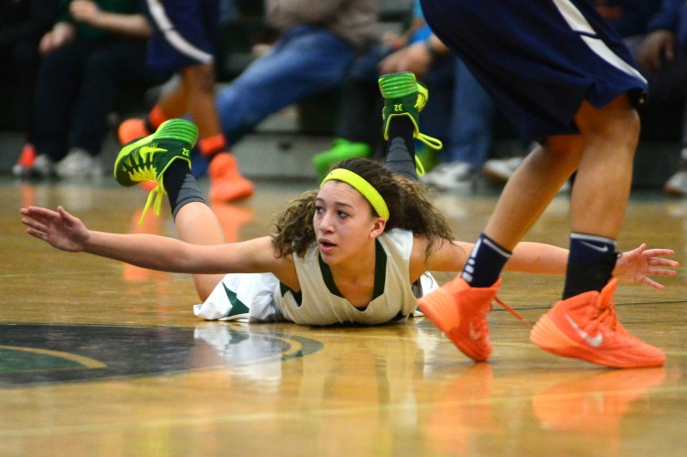 Atholton's Chelsea Mitchell falls to the ground. (Matt Hazlett/BSMG)