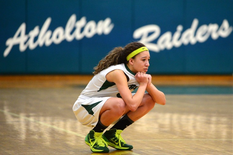 Atholton's Chelsea Mitchell watches on as her team tries to recover in the last few seconds of double overtime. (Matt Hazlett/BSMG)