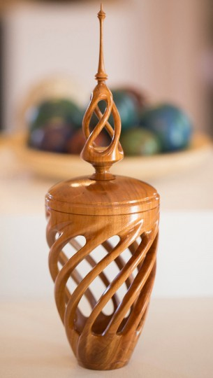 """A handmade piece titled """"Carved Hollow Form"""" by Tim Moore, that is made entirely from Cherry wood, took 3rd Place in the exhibit competition. (Nate Pesce/BSMG Photo)"""