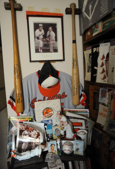 A shrine to Brooks Robinson stands at the Towson home of Ted Patterson. (Brian Krista/BSMG)