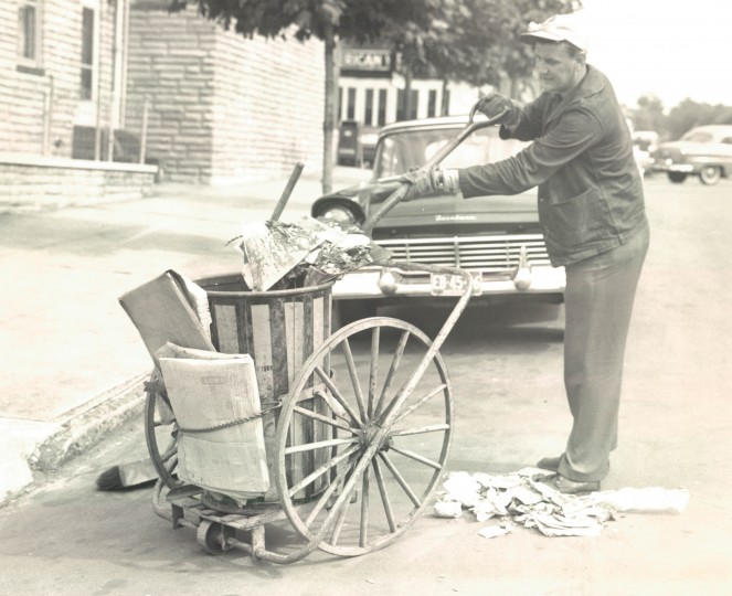 Street sweepers in Baltimore. (Arthur Deems/Baltimore Sun file/May 27, 1959)