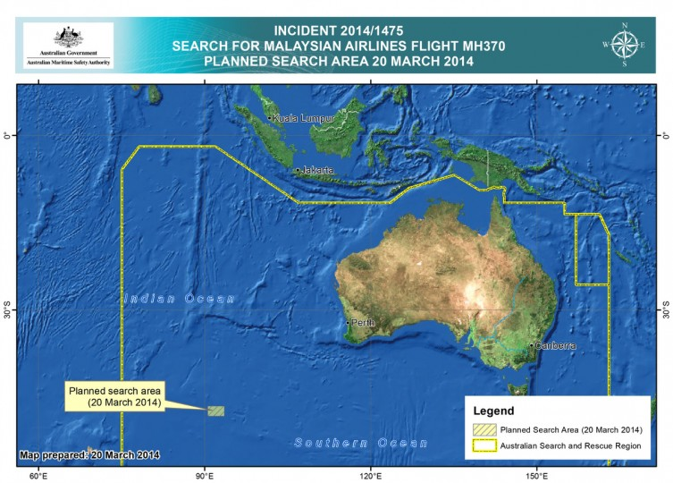 This handout Satellite image made available by the AMSA (Australian Maritime Safety Authority) shows a map of the planned search area for missing Malaysian Airlines Flight MH370 on March 20, 2014. Two objects possibly connected to the search for the passenger liner, missing for nearly two weeks after disappearing on a flight from Kuala Lumpur, Malaysia to Beijing, have been spotted in the southern Indian Ocean, according to published reports quoting Australian Prime Minister Tony Abbott. (Photo by AMSA via Getty Images)