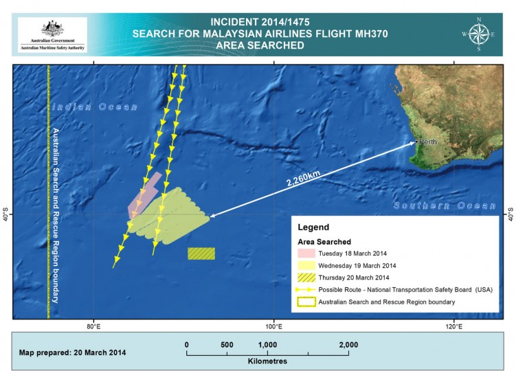 This handout Satellite image made available by the AMSA (Australian Maritime Safety Authority) shows a map of the areas searched between March 18 and March 20, 2014 for missing Malaysian Airlines Flight MH370. Two objects possibly connected to the search for the passenger liner, missing for nearly two weeks after disappearing on a flight from Kuala Lumpur, Malaysia to Beijing, have been spotted in the southern Indian Ocean, according to published reports quoting Australian Prime Minister Tony Abbott. (Photo by AMSA via Getty Images)