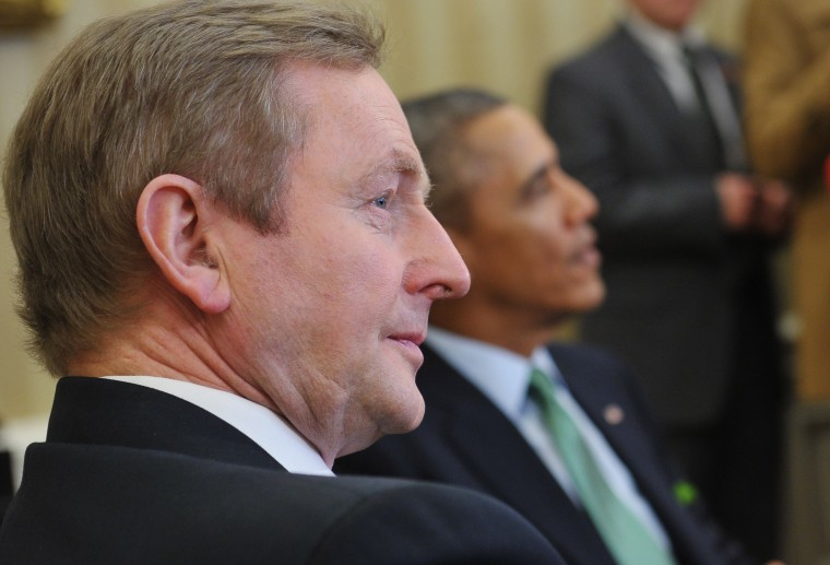 Irish Prime Minister Enda Kenny (L) is seated next to US President Barack Obama during a meeting in the Oval Office of the White House on March 14 in Washington, DC. (Mandel Ngan/AFP/Getty Images)