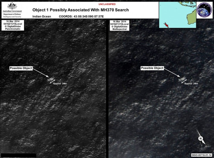 "This combination of handout images taken by satellite image provider DigitalGlobe on March 16, 2014 and released on March 20, 2014 by the Australian Government's Department of Defense via the Australian Maritime Safety Authority show satellite images of objects in the Indian Ocean which may be from missing Malaysia Airlines flight MH370 which disappeared en route to Beijing early on March 8. Australia said on March 20 that the two objects -- the largest estimated at 24 meters (79 feet) long -- spotted in the Indian Ocean were the ""best lead we have"" in the search for the missing Malaysian passenger jet. (Australian Government's Department of Defence and the Australian Maritime Safety Authority/via AFP Images)"