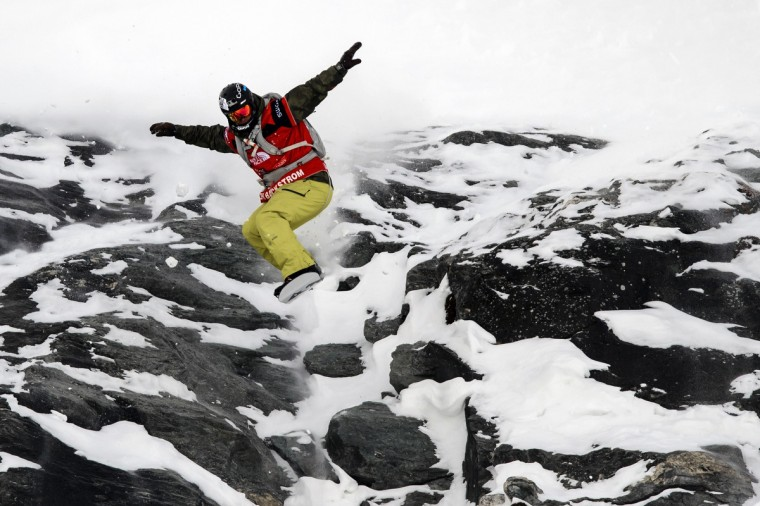 Ralph Backstrom of the US competes in the Men's snowboard event of the Xtreme Freeride World Tour final on March 29, 2014 above the Swiss Alps resort of Verbier. (Fabrice Coffrini / AFP/Getty Images)