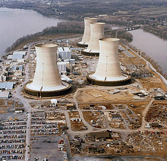 "This April 11, 1979 file photo released by the US National Archives shows a view of the Three Mile Island Nuclear Power Plant near Middletown, Pennsylvania. Nearly 32 years after the March 28, 1979 accident at Three Mile Island, the Fukushima nuclear accident is considered ""worse than Three Mile Island, but not as great as Chernobyl,"" Andre-Claude Lacoste, head of France's safety agency, said on March 14, 2011 (US National Archives/AFP/Getty Images)"