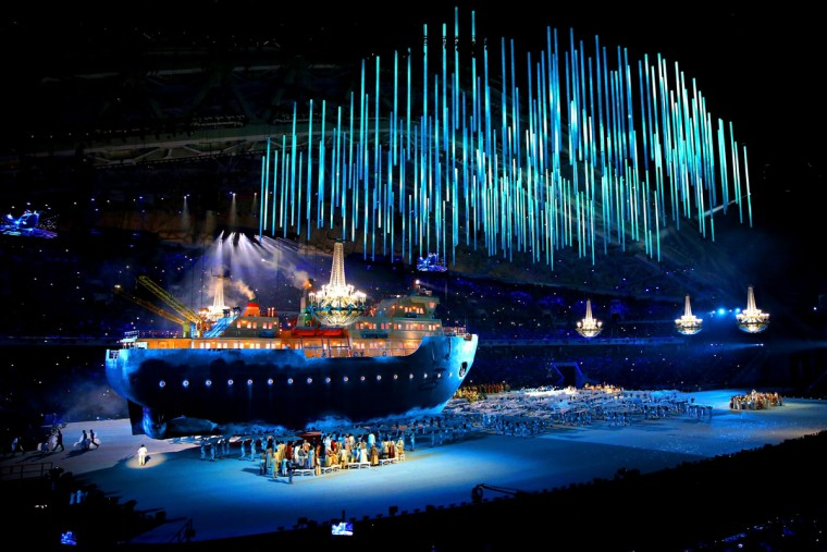 A giant ice breaker ship enters the arena carrying russian soprano Maria Guleghina during the Opening Ceremony of the Sochi 2014 Paralympic Winter Games at Fisht Olympic Stadium on March 7, 2014 in Sochi, Russia. (Photo by Ian Walton/Getty Images)