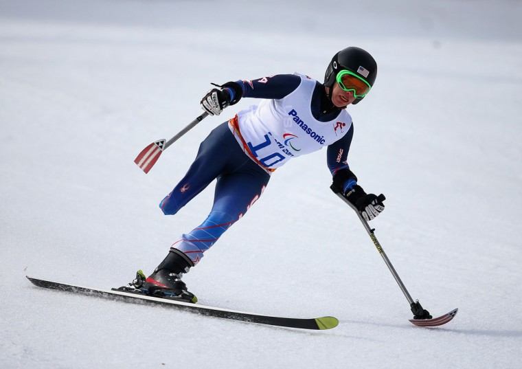 Allison Jones of United States competes in the Women's Downhill Standing during day one of Sochi 2014 Paralympic Winter Games at Rosa Khutor Alpine Center on March 8, 2014 in Sochi, Russia. (Photo by Ian Walton/Getty Images)
