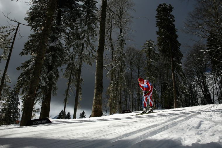Witold Skupien of Poland competes in the 4 x 2.5km Open Relay cross-country on day eight of the Sochi 2014 Paralympic Winter Games at Laura Cross-country Ski & Biathlon Center on March 15, 2014 in Sochi, Russia. (Photo by Mark Kolbe/Getty Images)