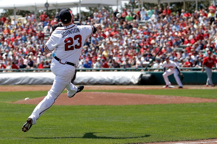 Chris Johnson #23 of the Atlanta Braves makes a throw to first base in the third inning of a game against the St. Louis Cardinals at Champion Stadium on March 15, 2014 in Lake Buena Vista, Florida. (Photo by Stacy Revere/Getty Images)