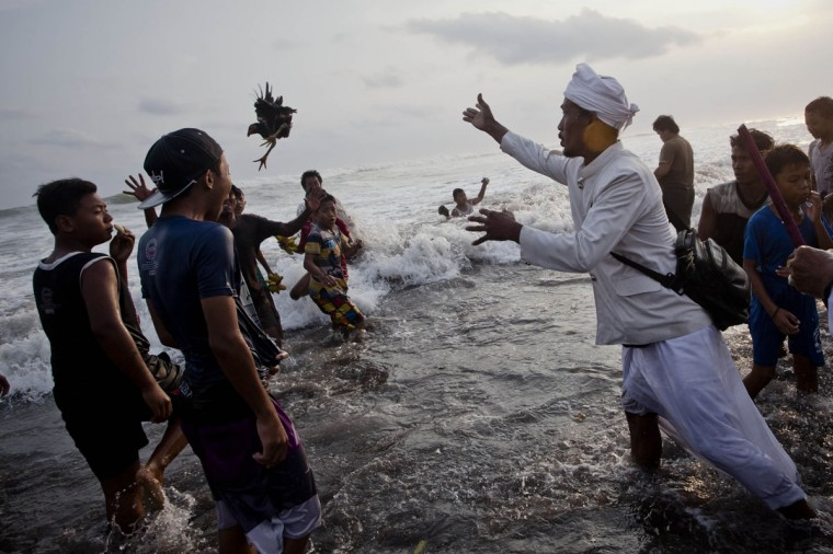 A Hindu devotee throws a chicken into the sea as offerings to gods during the Melasti ritual ceremony at Parangkusumo beach on March 28, 2014 in Yogyakarta, Indonesia. (Photo by Ulet Ifansasti/Getty Images)