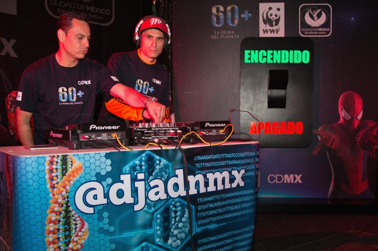 Djadnmx performs on stage during the Earth Hour, the global movement organized By WWF (World Wide Fund For Nature) on March 29, 2014 in Mexico City, Mexico. (Photo by Victor Chavez/Getty Images for Sony)
