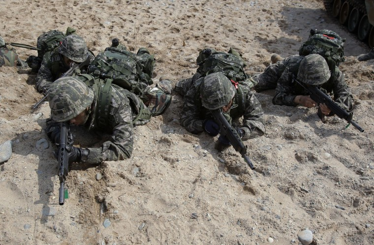 South Korean Marines participate in a joint landing operation with U.S. Marines at Pohang seashore on March 31. (Photo by Chung Sung-Jun/Getty Images)