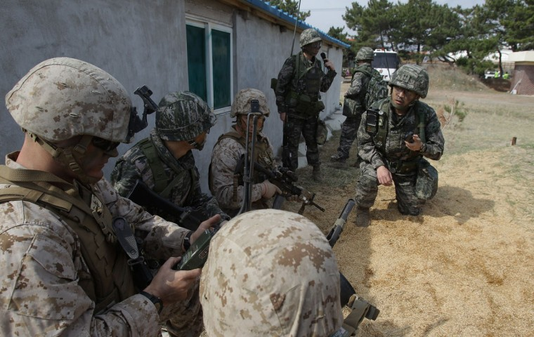 U.S. Marines from the 3rd Marine Expeditionary Force, Battalion landing team deployed from Okinawa, Japan participate in the U.S. and South Korean Marines joint landing operation at Pohang seashore on March 31, 2014 in Pohang, South Korea. (Photo by Chung Sung-Jun/Getty Images)