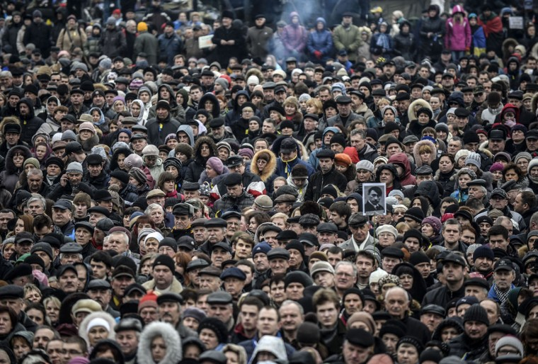 eople attend a rally against Russia on Kiev's Independence Square on March 2, 2014. (Bulent Kilic/AFP/Getty Images)