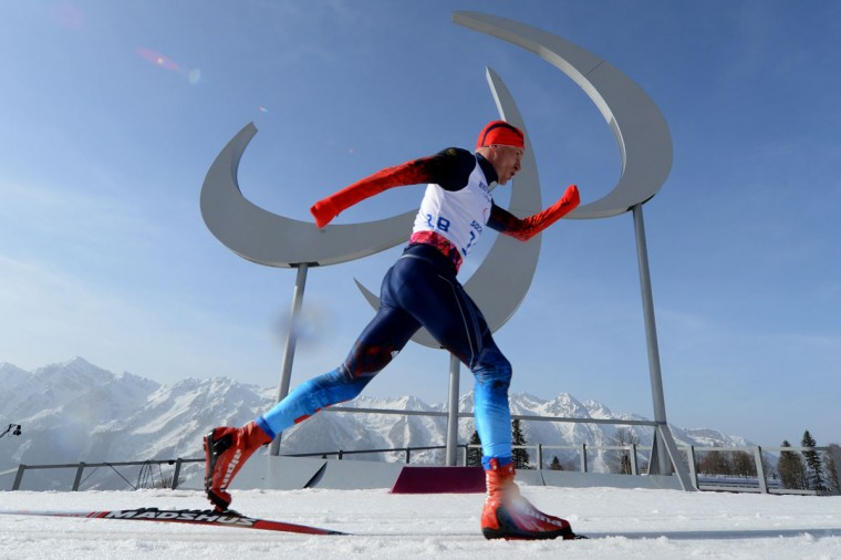 Russia's Vladimir Kononov competes during the Men's Cross Country 20 km Classic Standing at XI Paralympic games in the Rosa Khutor stadium near Sochi on March 10, 2014. (KIRILL KUDRYAVTSEV/AFP/Getty Images)