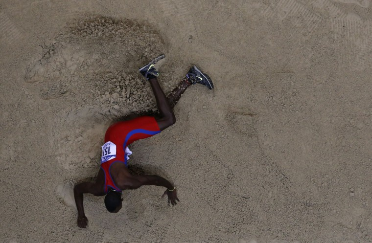Cuba's Pedro Pablo Pichardo competes in the Men's Triple Jump Final event at the IAAF World Indoor Athletics Championships in the Ergo Arena in the Polish coastal town of Sopot, on March 9, 2014. (ADRIAN DENNIS/AFP/Getty Images)