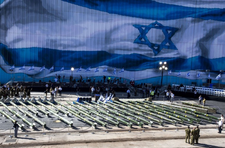 Forty rockets (type M-302) are put on display by the Israeli military along the docks of the southern Israeli military port of Eilat, on March 10, 2014. (JACK GUEZ/AFP/Getty Images)