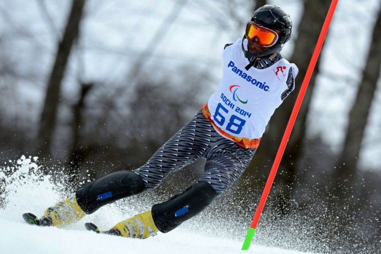 Armenia's Mher Avanesyan (LW 5/7-1) competes in the Men's Alpine Skiing Slalom Standing during the XI Paralympic Olympic games at the Rosa Khutor Alpine Center near Sochi on March 13, 2014. (Krill Kudryavtsev/AFP/Getty Images)